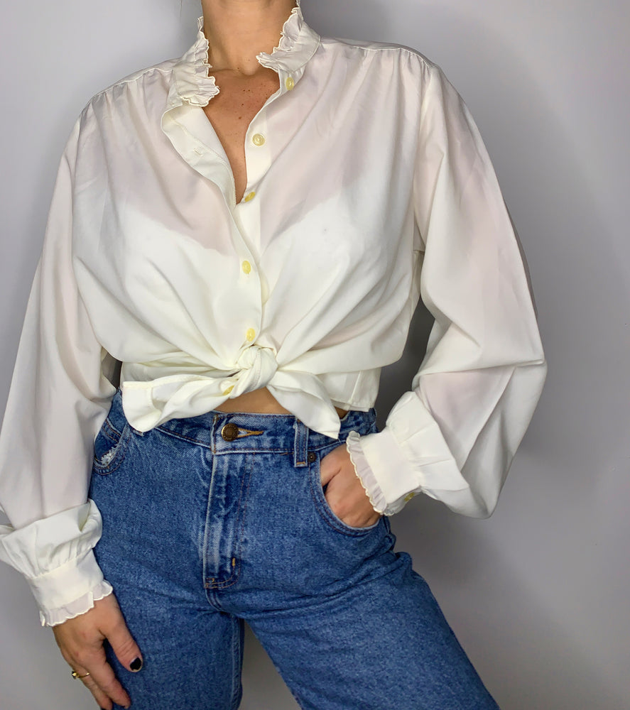 Frilly Sheer Button Down
