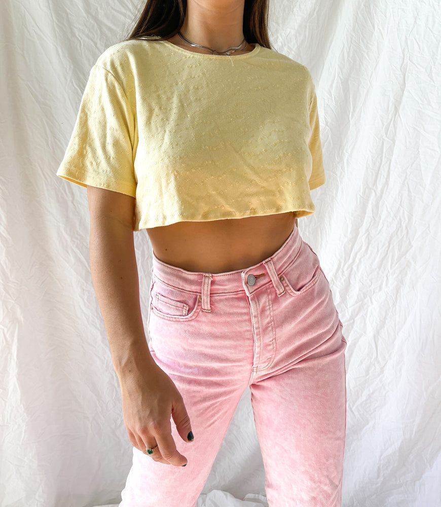 Yellow Embroidered Crop Top