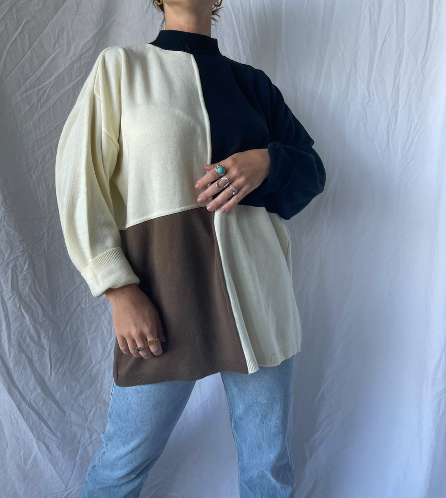 Neutral Block Colored Sweater