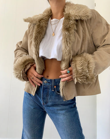 Faux Fur Trimmed Suede Jacket