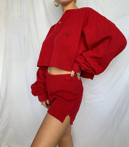 Red Henley Set