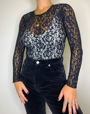 Stretch Mesh Lace Longsleeve Top