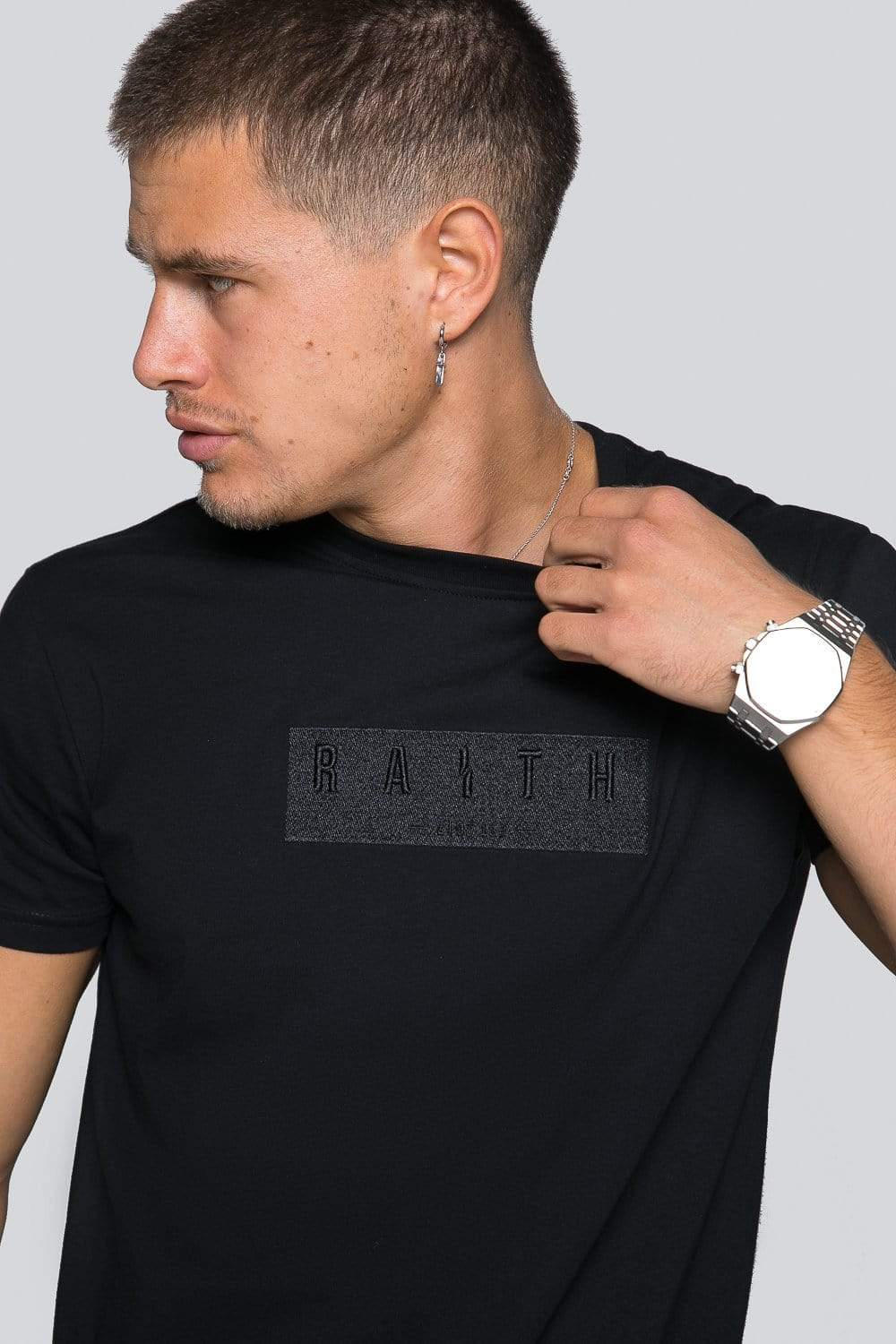 Appliqué Mercerised Tee - Black