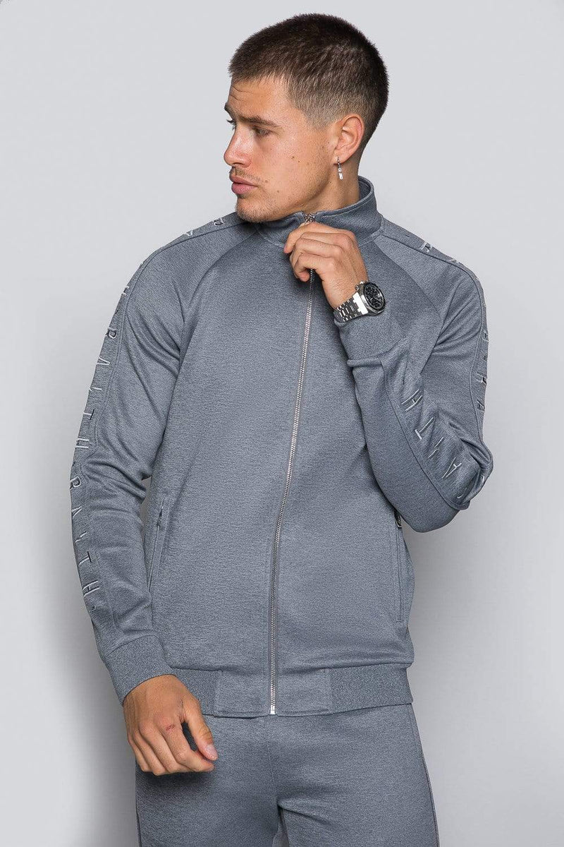 Core Poly Funnel Neck Track Top - Grey Marl