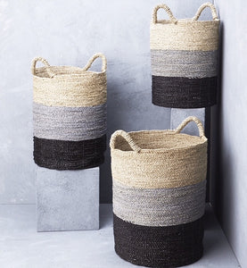 Inartisan striped seagrass laundry baskey in Small