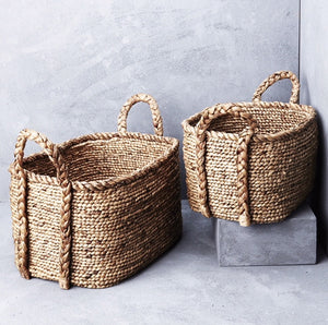 inartisan waterhyacinth long basket with plaited handles Lge