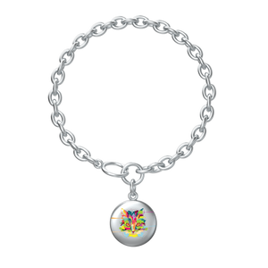 Watercolor Cat Lotus Coin with Aurora Bracelet in silver