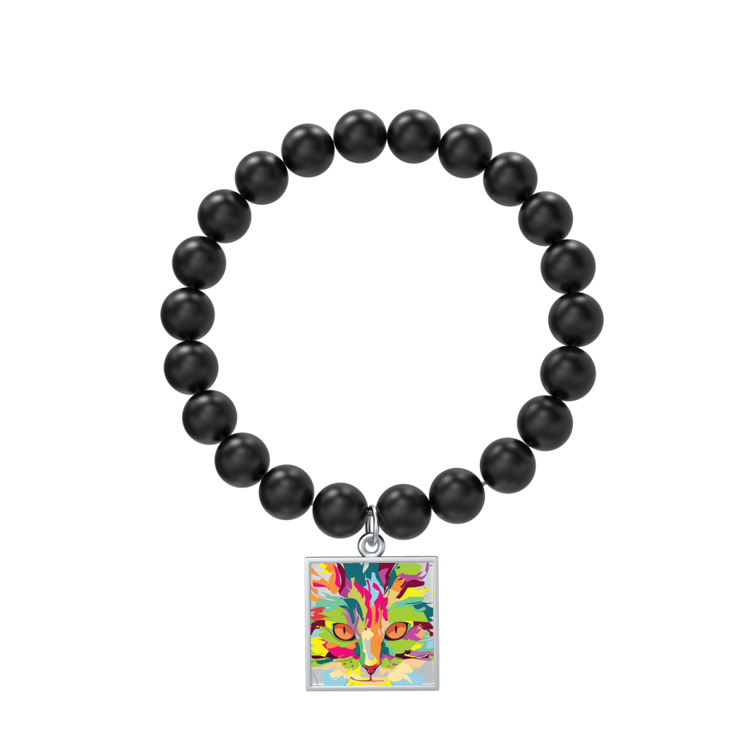 Watercolor Cat Indigo Tile with Matte Onyx Bracelet in silver