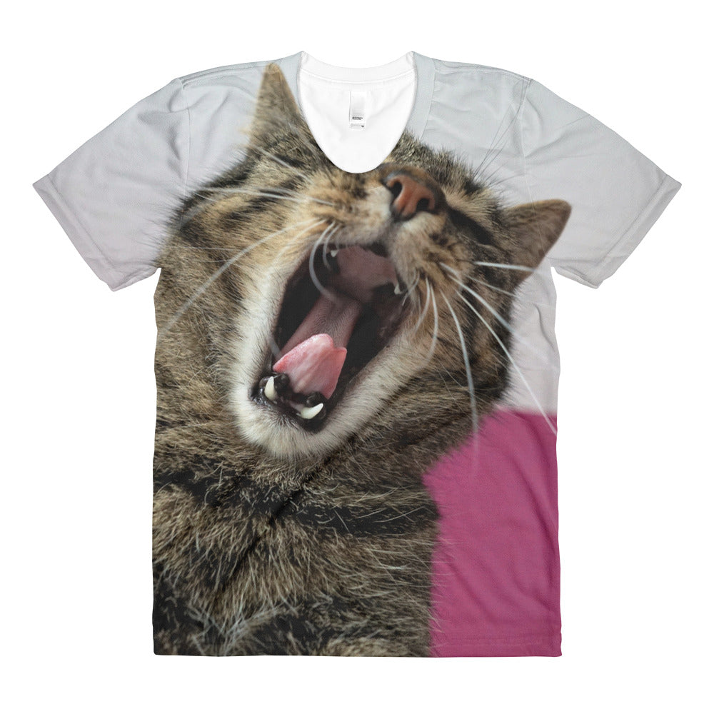 Kitty Yawn Sublimation Women's Crew Neck T-shirt