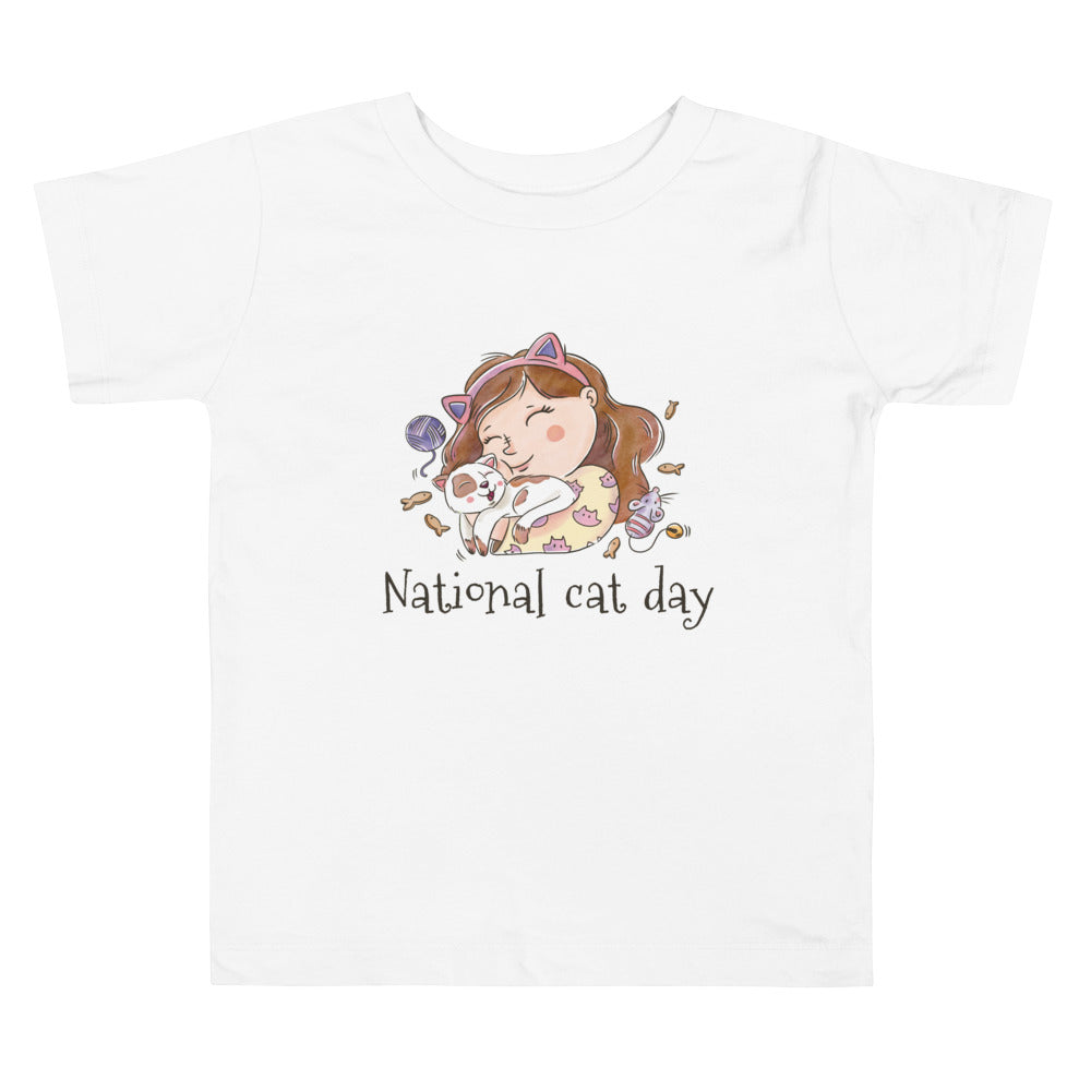 National Cat Day - Black Toddler Short Sleeve Tee