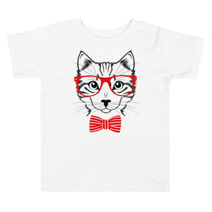 Eyeglass with Bowtie Cat Toddler Short Sleeve Tee