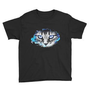 Blue Cat Stare Youth Short Sleeve T-Shirt