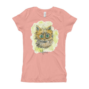 Watercolor Cat Girl's T-Shirt