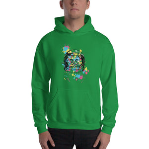 Space Cat with Ink Splash Hooded Sweatshirt