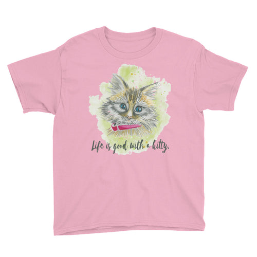 Watercolor Cat 2 Youth Short Sleeve T-Shirt