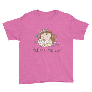 National Cat Day - Black Youth Short Sleeve T-Shirt
