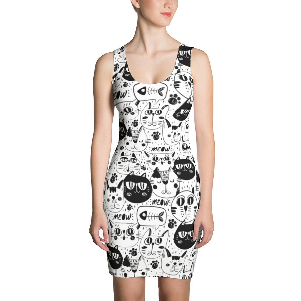 Black and White Cats Sublimation Cut & Sew Dress