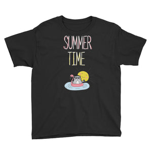 Summer Time White Youth Short Sleeve T-Shirt
