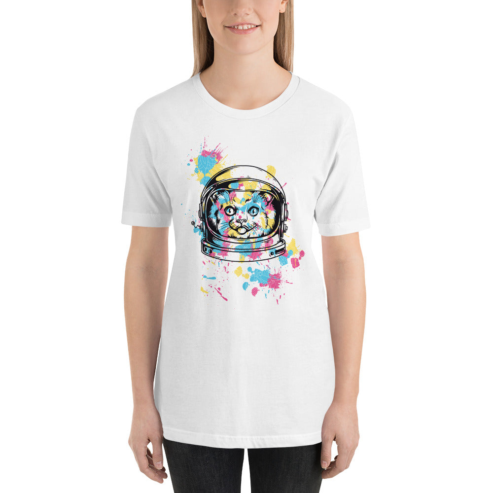 Space Cat with Ink Splash Short-Sleeve Unisex T-Shirt