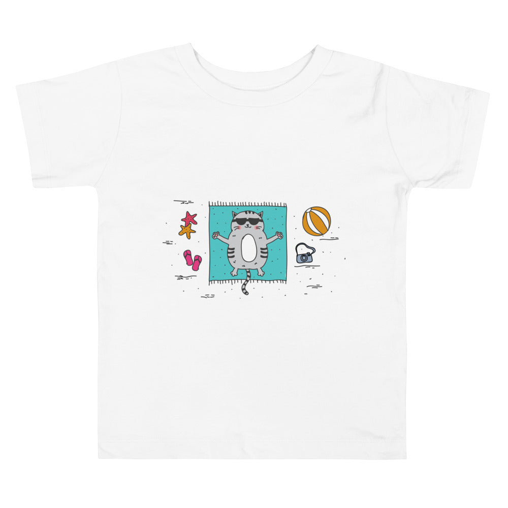 Hello Summer White Toddler Short Sleeve Tee