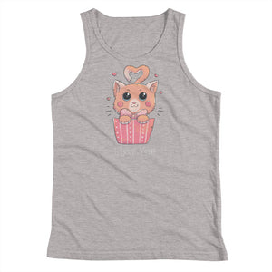 Cat Loves You White Youth Tank Top