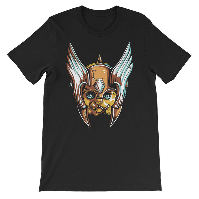 Helmeted Cat Short-Sleeve Unisex T-Shirt