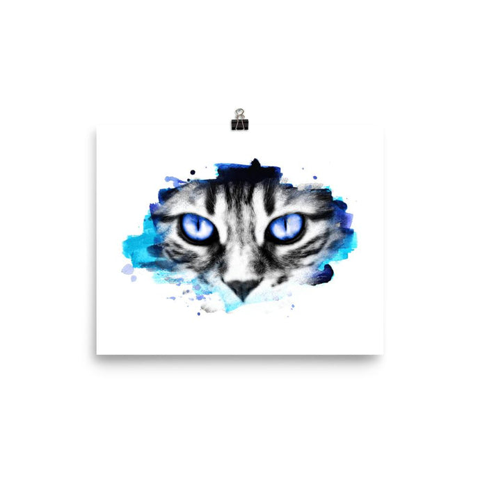 Cat Blue Stare Poster