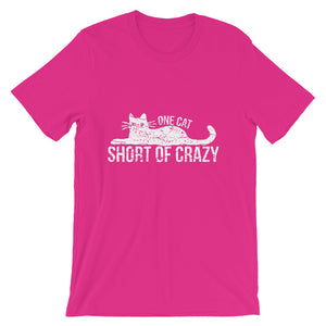 One Cat Short of Crazy Dark Short-Sleeve Unisex T-Shirt