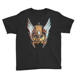 Helmeted Cat Youth Short Sleeve T-Shirt