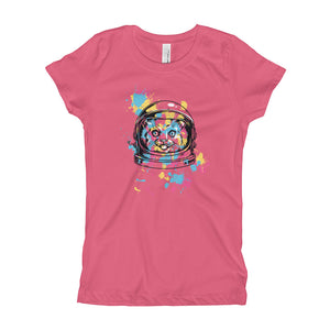 Space Cat with Ink Splash Girl's T-Shirt