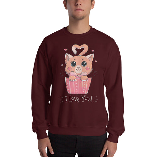 Cat Loves You White Sweatshirt
