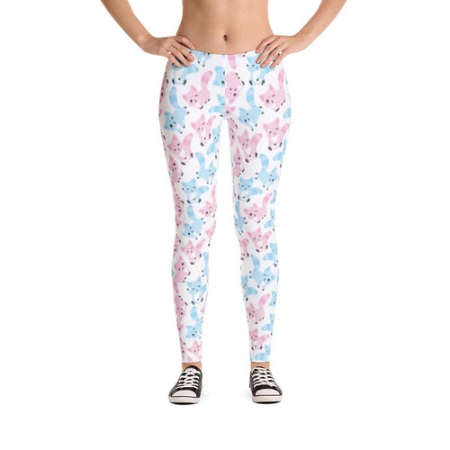 Blue and Pink Cat Leggings