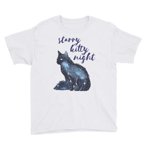 Starry Kitty Night Youth Short Sleeve T-Shirt