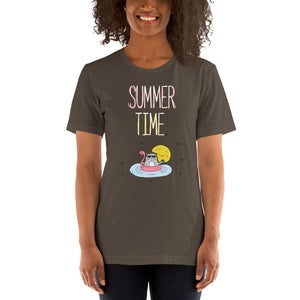 Summer Time White Short-Sleeve Unisex T-Shirt