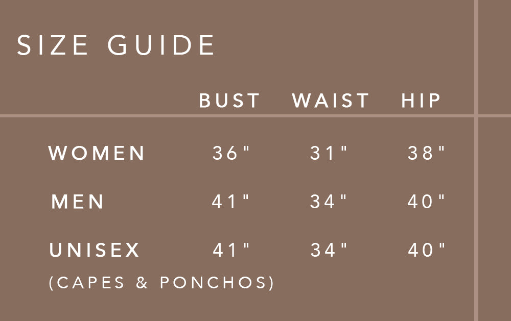 SIZE GUIDE chart natural rough