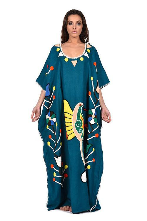 natural-rough-caftan-dress-embrodidery-handcrafted-artisanal-cobalt-linen