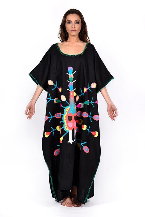 natural-rough-caftan-dress-hand-embroidery-handcrafted-artisanal-wayuu-black-peacock