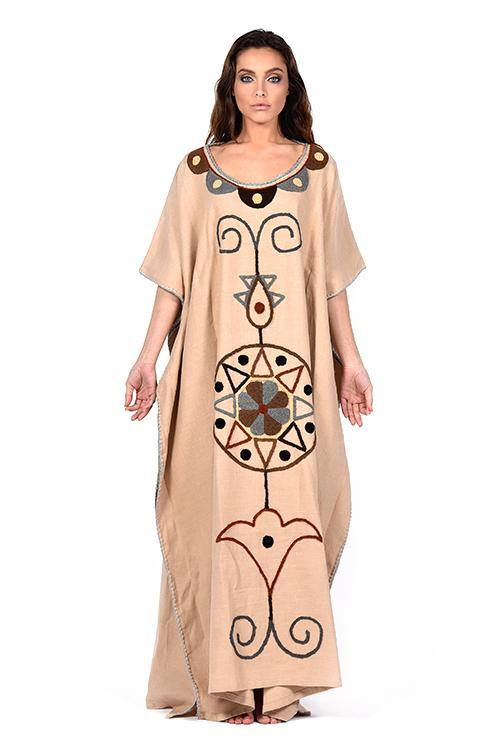 natural-rough-caftan-dress-embroidery-handcrafted-artisanal-cream-linen
