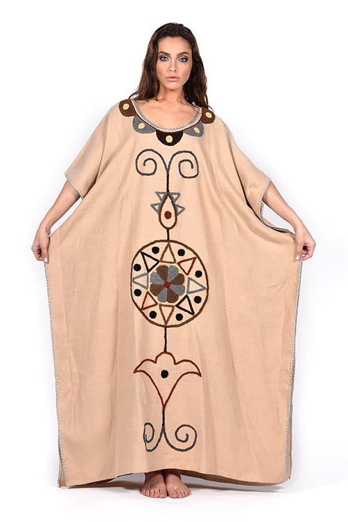natural-rough-caftan-dress-embroidery-handcrafted-artisanal-beige-linen