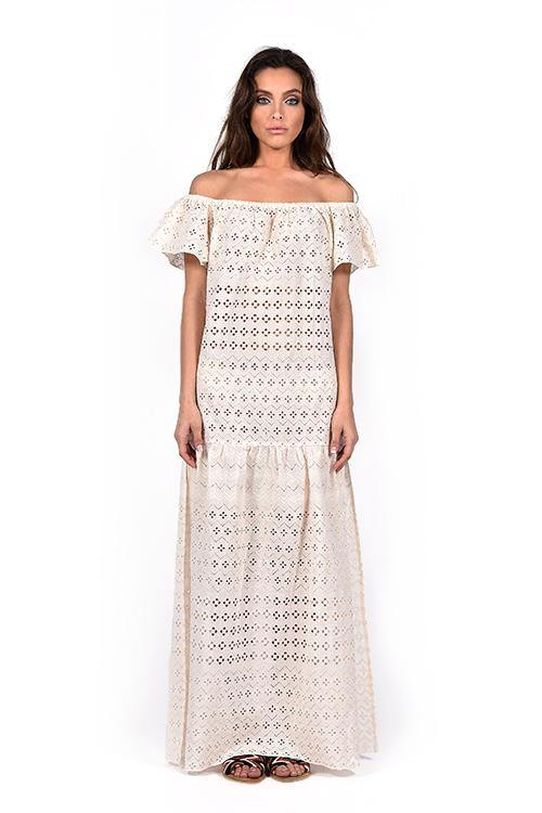 VIOLA OFF WHITE - COTTON LACE DRESS - HANDWOVEN - NATURAL ROUGH