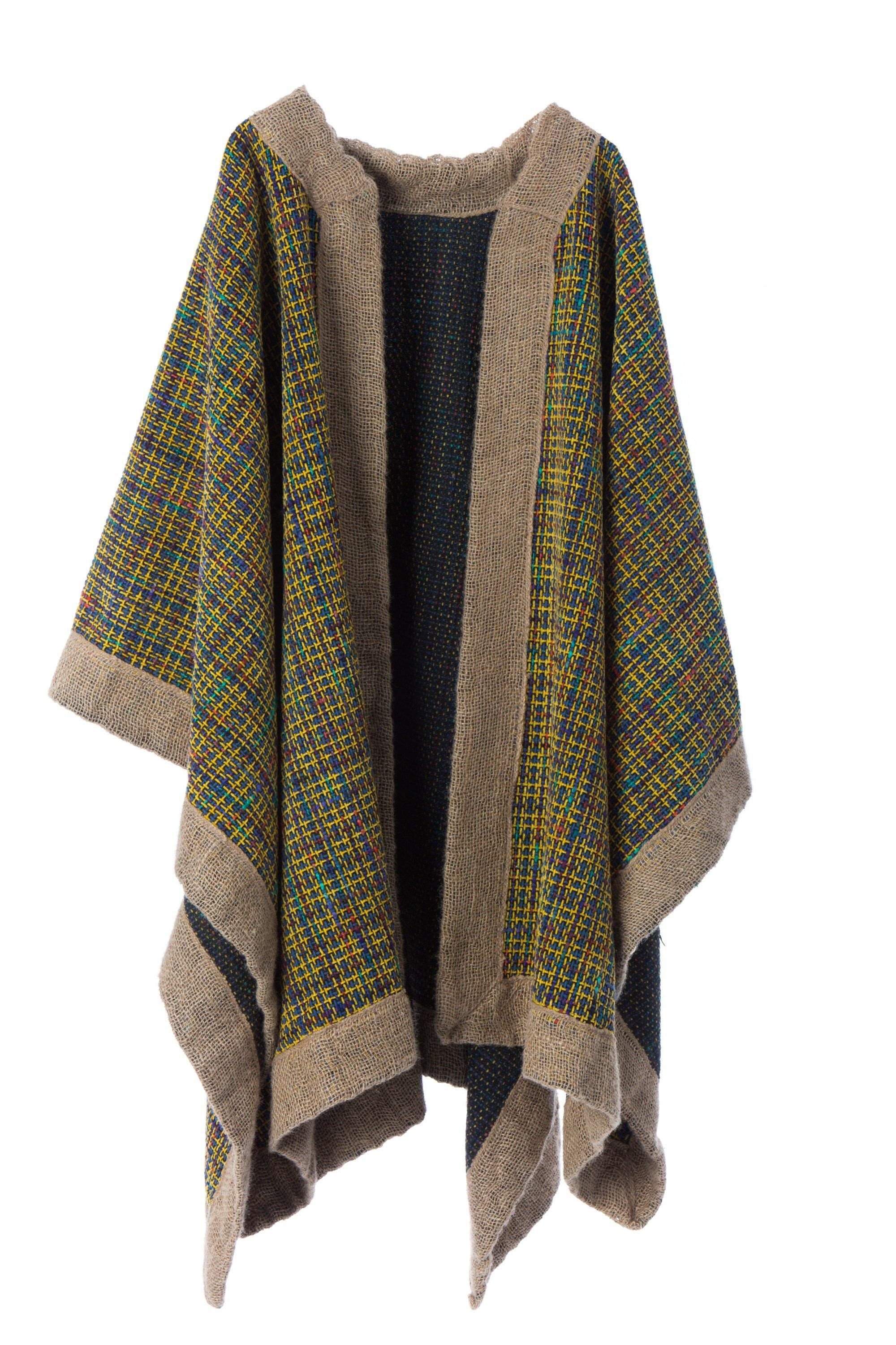 FUNKY JUTE - Handcrafted Artisanal Cape  - Natural Rough
