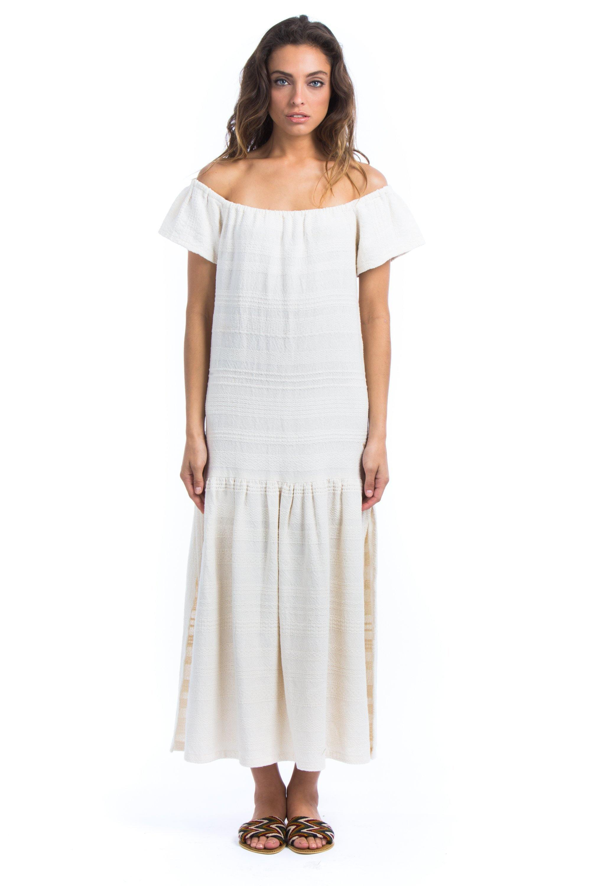 VIOLA ELENA - Handwoven Cotton Dress - Natural Rough