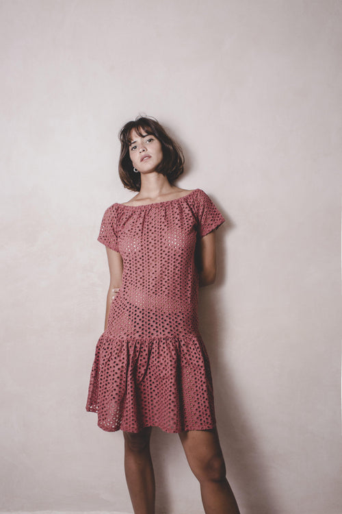 VIOLA SHORT SIENA - Eyelet Handwoven Dress - Natural Rough