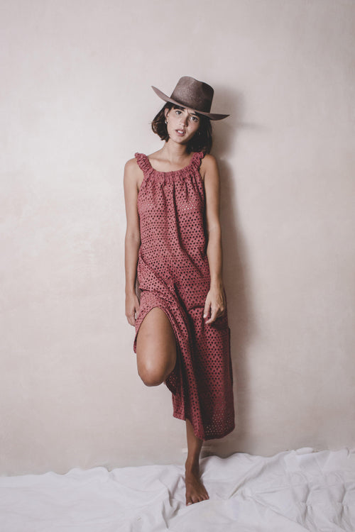 CARIDAD SIENA - Eyelet Handwoven Cotton Dress - Natural Rough