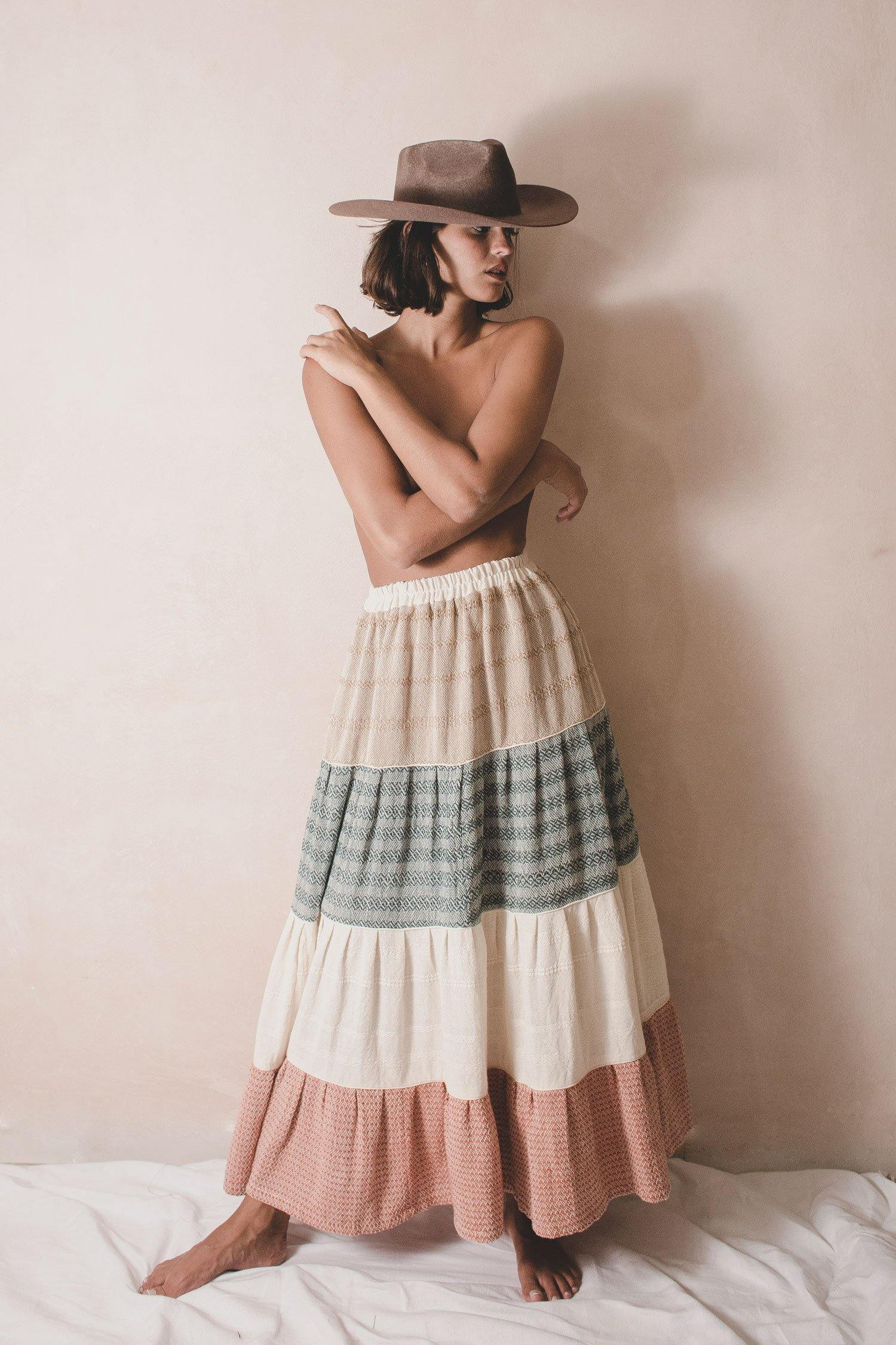 BROCATE ELENA - Handwoven Artisanal Skirt - Natural Rough