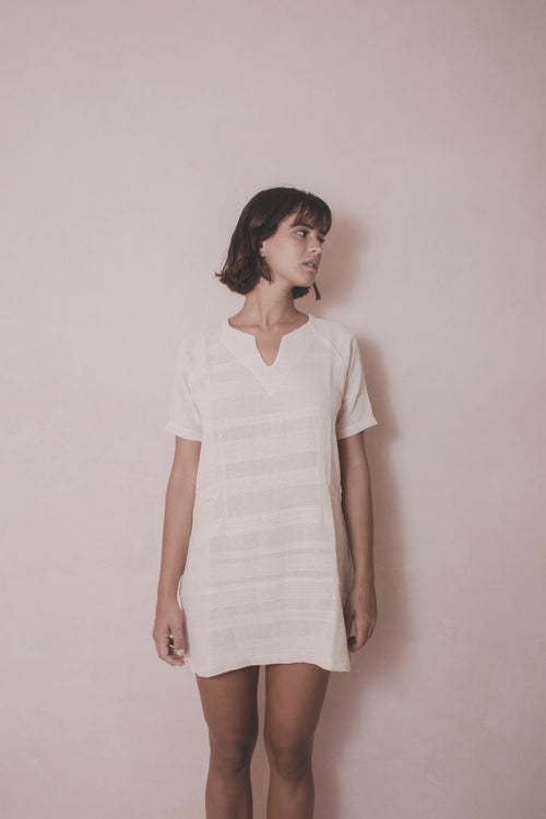 MINIDRESS ELENA - Handwoven Cotton Dress - Natural Rough