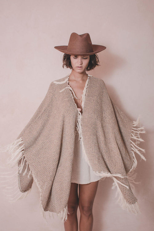 Pumpy Elena - Handwoven Artisanal Cotton Cape  - Natural Rough