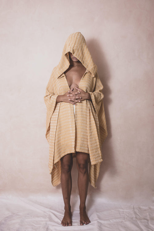 Kappa Mostaza - Handwoven Artisanal Cotton Cape - Natural Rough