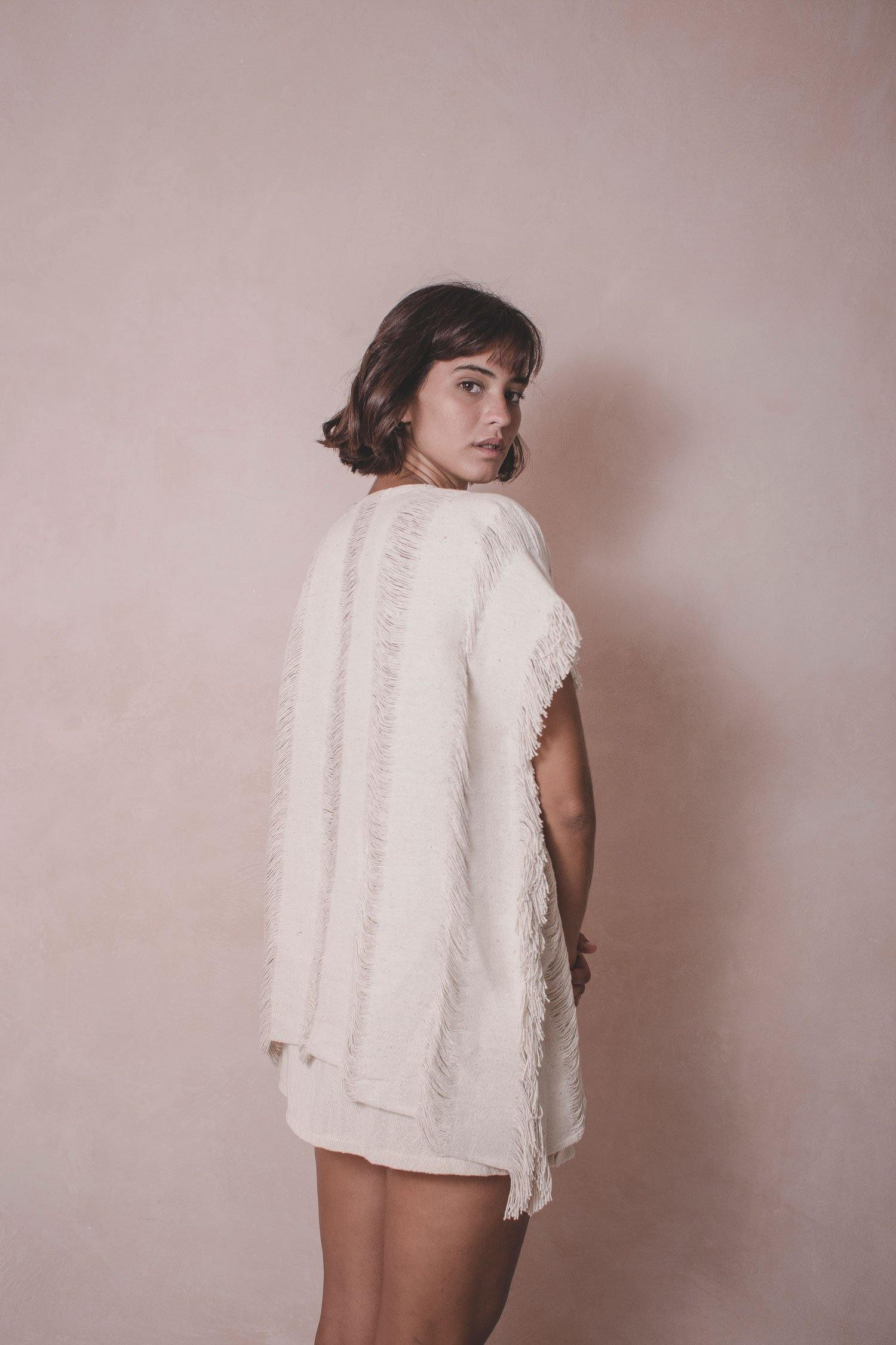 Elena Short - Handwoven Cotton Cape - Natural Rough
