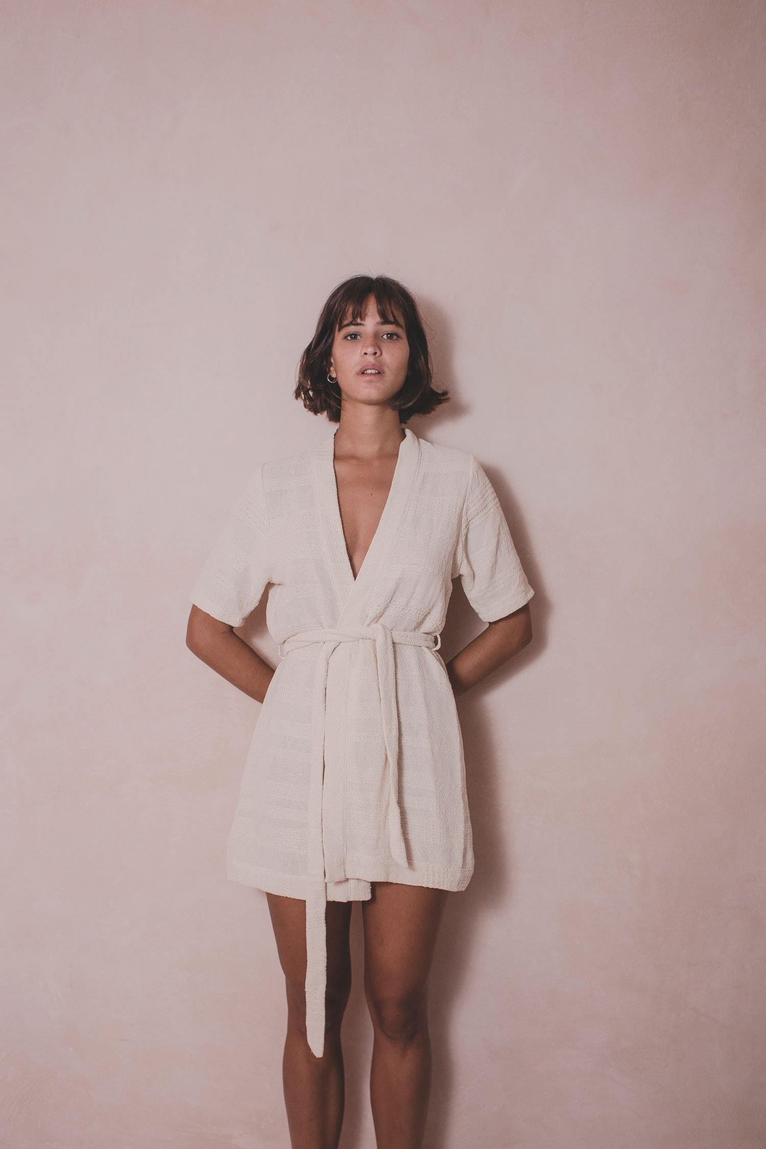 Kafty Elena - Handwoven Cotton Kimono Dress  - Natural Rough